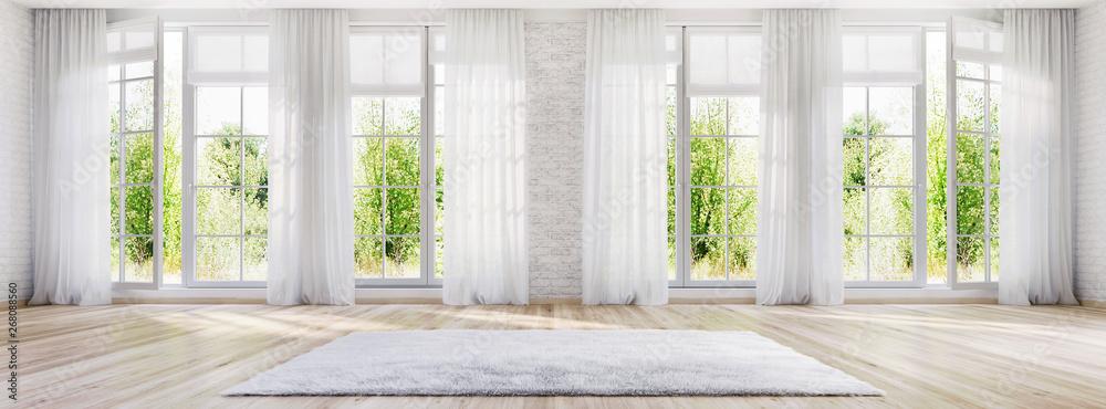 Fototapety, obrazy: White interior design with large windows