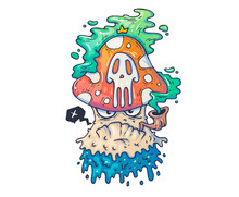 Funny Poisonous Mushroom. Cartoon Illustration For Print And Web. Character In The Modern Graphic Style.