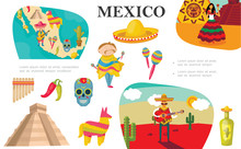 Flat Mexican Elements Composition