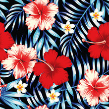 Hibiscus Red And Palm Leaves Blue Seamless Background