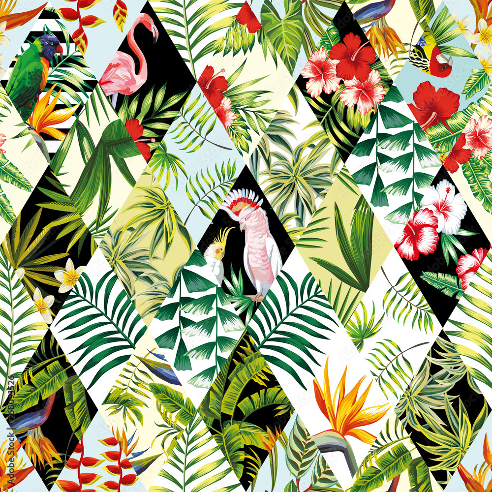 Exotic seamless pattern, patchwork