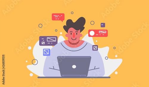Vector illustration of a super professional programmer or project manager. Funny cartoon character.