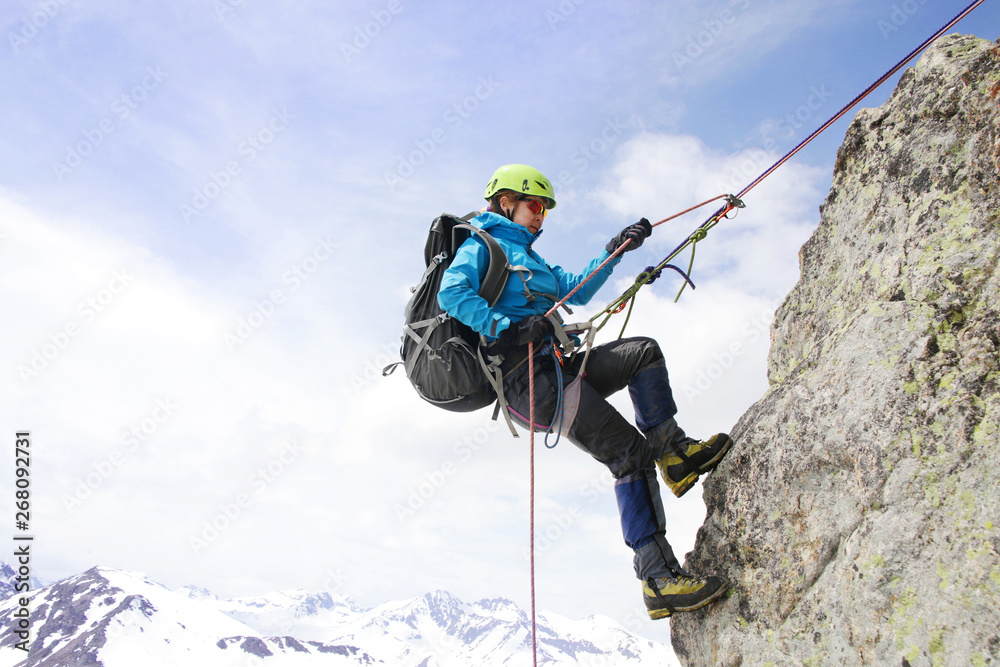 Fototapety, obrazy: alpinism in the snowy mountains