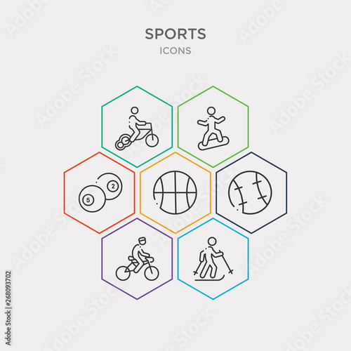 simple set of skiing down hill, racing bike, baseball ball, basketball ball with line icons, contains such as icons ball pool, stick figure on snowboard, bicycle for children and more Canvas Print