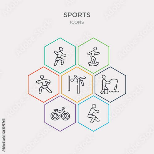 Photo  simple set of squat, race bike, fisher fishing, man practicing high jump icons, contains such as icons karate fighter, boy with skatingboard, dancer motion and more