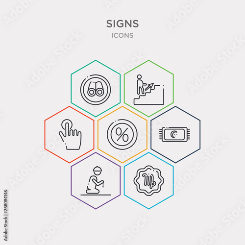 simple set of horoscope, zuhar prayer, isha prayer, percent icons