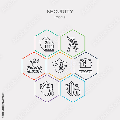 simple set of checke shield, underage, ambulance alert, court gavel icons, contains such as icons drowning, lifeguard chair, picket and more Wallpaper Mural
