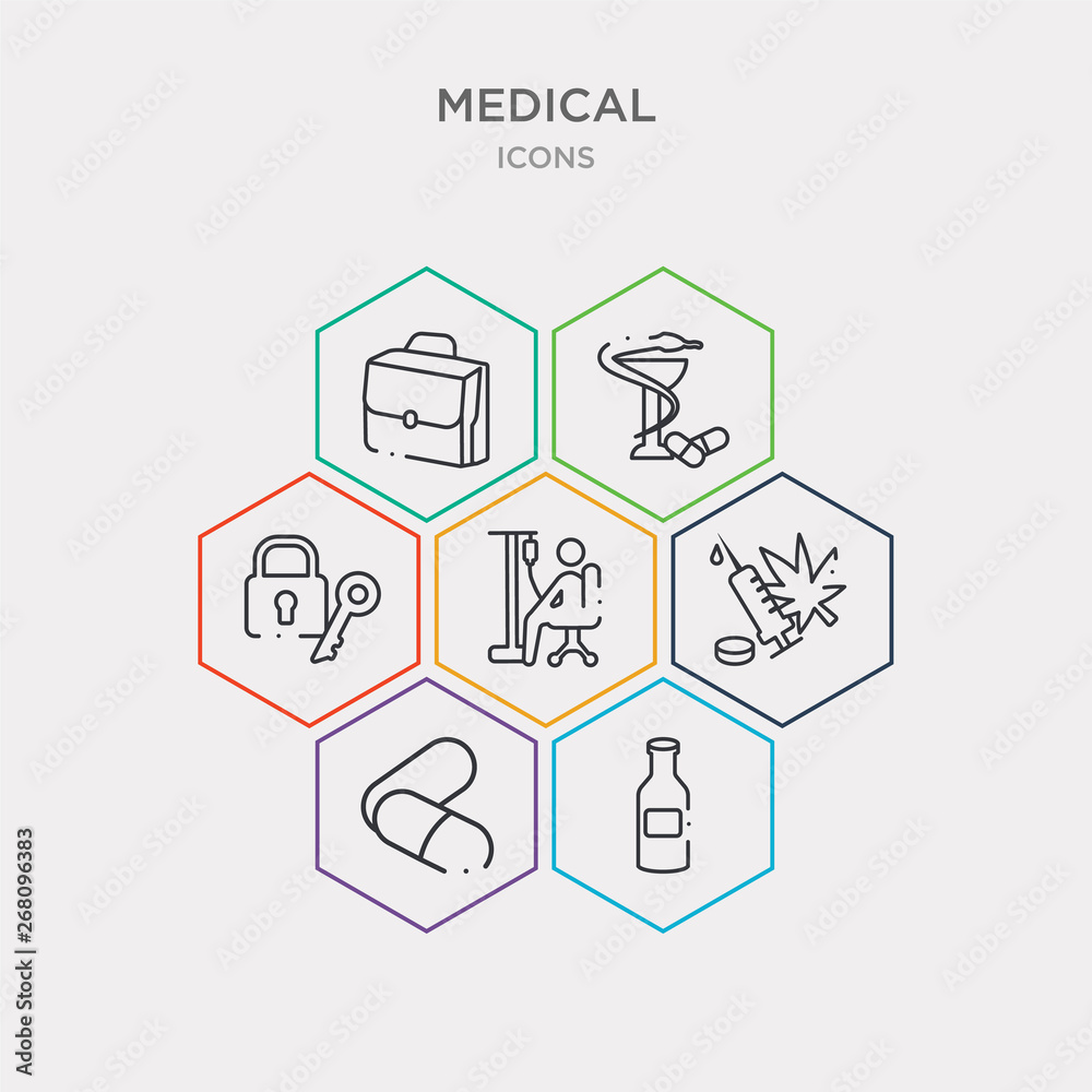 Photo  simple set of japanese medicine bottle, remedy, illegal, chair with wheels icons, contains such as icons lock and key, pharmacy cross, medic suitcase and more