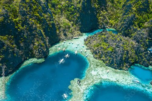 Fotografia  Aerial view of beautiful lagoons and limestone cliffs of Coron, Palawan, Philipp