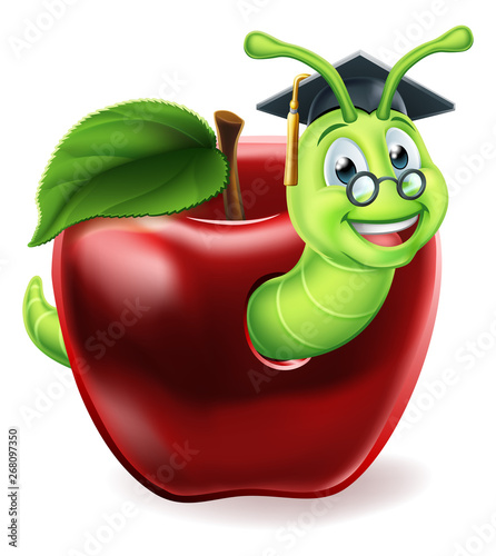 Fotografie, Tablou  A caterpillar bookworm worm cute cartoon character education mascot coming out o