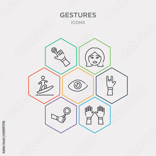 Photo  simple set of hands up, look up, hand up, watch dark eye icons, contains such as icons surfing, sad face, hand pointer and more
