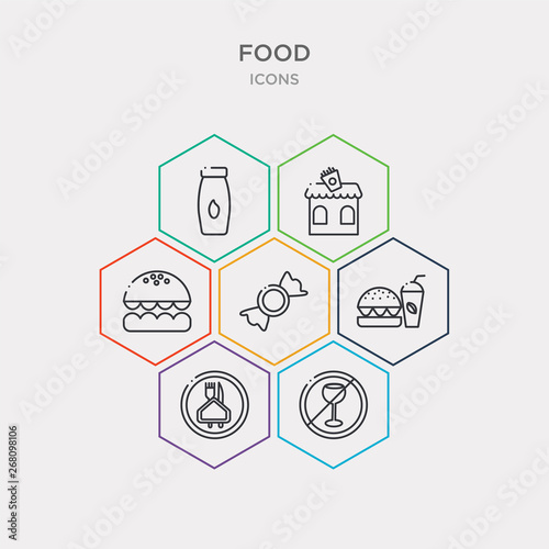 simple set of no drinking, restaurant, fast food restaurant, candy shop icons, contains such as icons burguer, bistro, milky and more Canvas Print