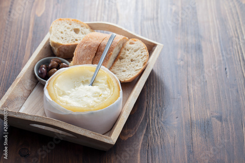 typical portuguese cheese with bread and olives - Buy this