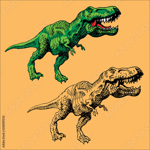vector image of a large agressive dinosaur with a ripped mouth in the style of Wallpaper Mural
