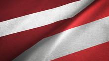 Latvia And Austria Two Flags Textile Cloth, Fabric Texture
