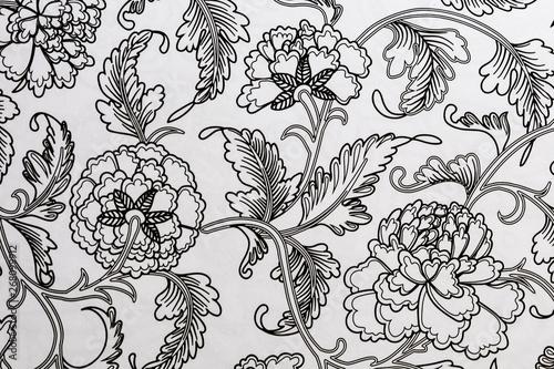 Photo Arrière plan noir et blanc au motif floral