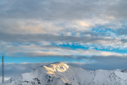 Fototapety, obrazy: Remarkable sunlit mountain covered with powdery white snow in winter
