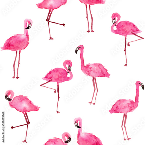 Keuken foto achterwand Flamingo watercolor pink flamingos. hand drawn seamless pattern on a white background