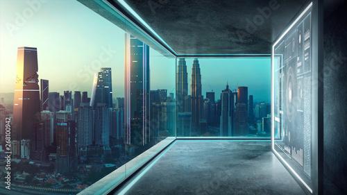 puste-loft-wspolczesne-biuro-wnetrz-z-wirtualnych-ekranow-interfejsu-holograficznego-3d-i-nowoczesny-pejzaz-z-okna-ze-szkla