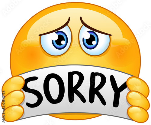 Photo emoticon with sorry sign