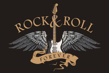 Rock N Roll Guitar Vector Image With Wings And Inscription On Rock And Roll Tapes In The Style Of A Graphic Sketch