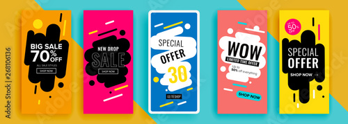 Trendy editable template for social networks stories, vector illustration Fototapet