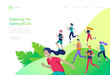 Landing page template with running group People, man doing workout, couple running. Healty life concept. People performing sports outdoor activities. Cartoon illustration