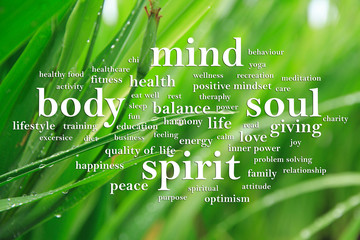Panel Szklany Do Spa Body Mind Soul Spirit, Motivational Words Quotes Concept