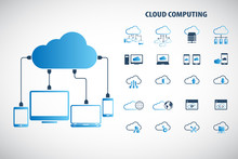 """Cloud Computing - Devices Connected To The """"cloud"""". EPS10 Vector."""
