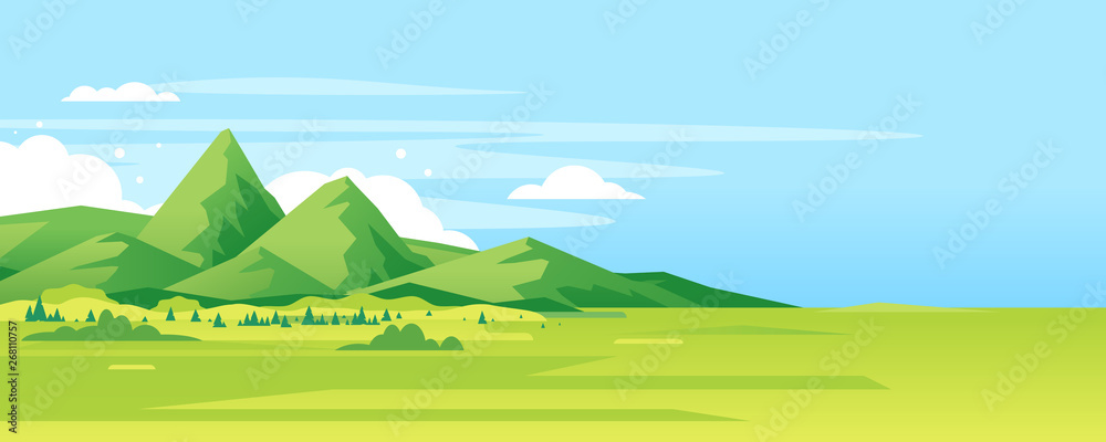 Fototapety, obrazy: High green mountain in sunny day with spruce forest and blue sky in simple geometric form, nature tourism landscape background, travel mountains adventure illustration