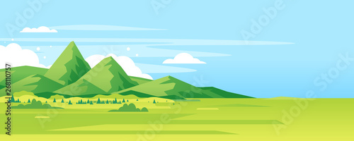 Fototapeta High green mountain in sunny day with spruce forest and blue sky in simple geometric form, nature tourism landscape background, travel mountains adventure illustration obraz