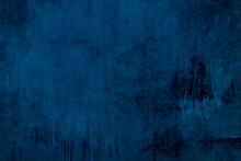 Detail Of Old Distessed  Dark Blue Wall, Grungy Background Or Texture