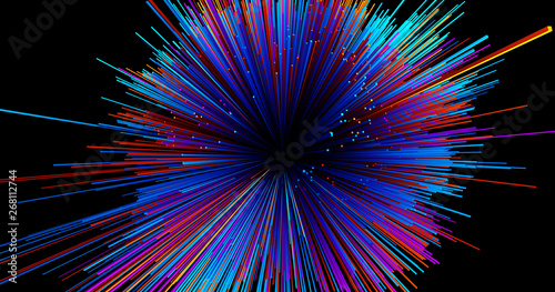 Photo Stands Fractal waves Abstract big data background wallpaper design. Motion pattern texture with shine colorful lines and cubes. Modern light shiny backdrop illustration. 3D render