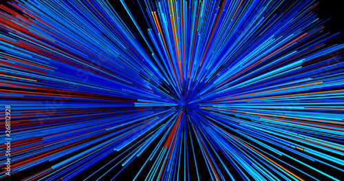 Foto auf AluDibond Fractal Wellen Abstract big data background wallpaper design. Motion pattern texture with shine colorful lines and cubes. Modern light shiny backdrop illustration. 3D render