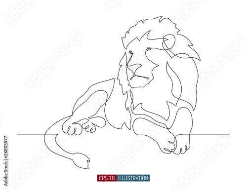 Fotografia, Obraz Continuous line drawing of lion