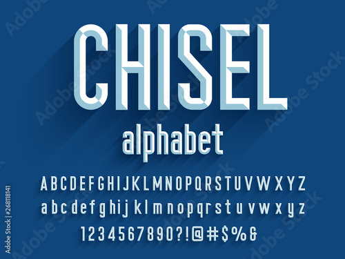 Fotografie, Tablou Chisel style alphabet design with uppercase, lowercase, number and symbols
