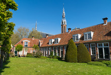 The Sint Anthony Gasthuis With Old Almshouses Around A Small, Public Courtyard  In The Dutch City Of Groningen. Netherlands
