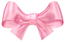 Pink Bow (front View). Classic Traditional Elegant Romantic Rosy Bow Isolated On White Background. Festive Decorative Design Element With Clipping Path. 3d Rendering