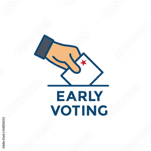 Tablou Canvas Early Voting Icon with Vote, Icon, and Patriotic Symbolism and Colors