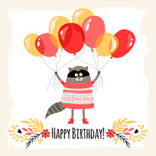 Template Greeting Card With Raccoon. Happy Birthday!