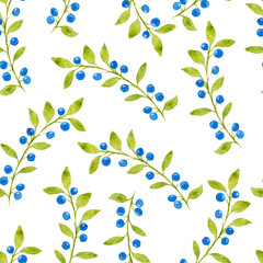 Beautiful seamless pattern with hand drawn watercolor berries and leaves on white background. Illustration of blueberry berries and branches.