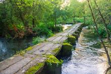 Stone Footbridge Crossing Umia River