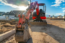 Close Up Of A Red Excavator Wi...