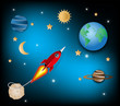 Paper art style of rocket flying over the sky, flat-style vector illustration. start up concept,