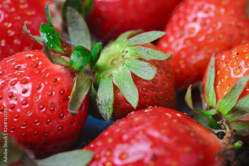 Fototapety, obrazy: Imperfect fresh organic strawberries on blue rustic wooden background