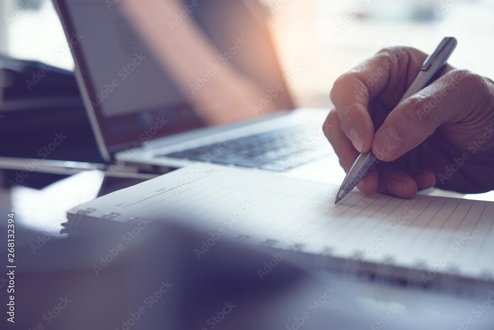 Fototapety, obrazy: Man hand writing on notebook