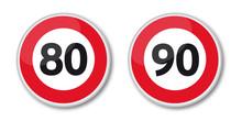 Panneaux De Limitation De Vitess à 80 Et 90 Km/ Heure