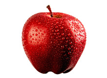 Fresh Big Red Apple Fruit With Water Drops Isolated On The White Background