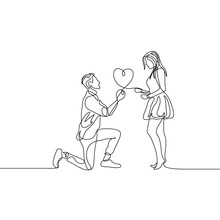 Continuous One Line Man Makes A Marriage Proposal To A Woman