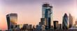 canvas print picture - Die Skyline der City von London mit den zahlreichen Wolkenkratzern und markanter Architektur bei Sonnenaufgang